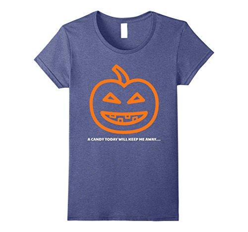 [Womens Halloween costumes Tshirt for kids girls , demanding pumpkin Small Heather Blue] (Top 10 Scariest Halloween Costumes)