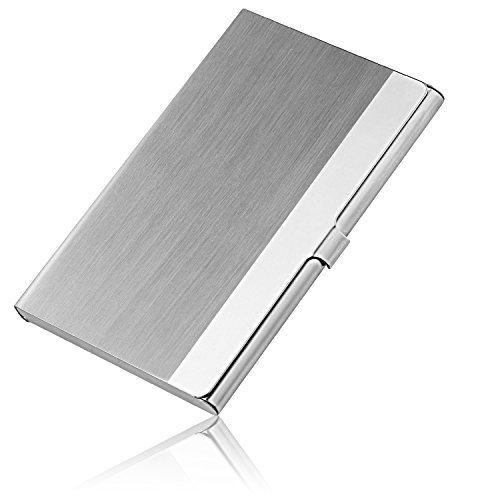 Professional Business Card Holder, JuneLsy Business Card Case Stainless Steel Card Holder Slim Business Cards for Men and Women(L-A1)