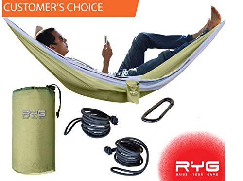 Raise Your Game RYG Portable Hammock, Heavy Duty Lightweight Parachute Quality Fabric, Indoor Outdoor Weatherproof Single & Double Hammocks, Adjustable Camping Swing Hiking Travel (Olive Green)