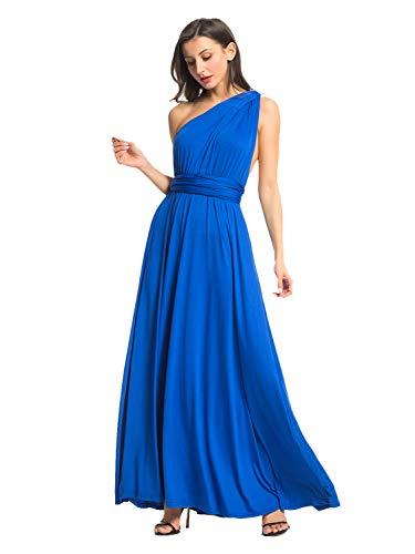 One Shoulder Convertible Wrap Cocktail Bridesmaid Long Maxi Dress XL Royal Blue