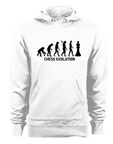 Cappuccio Evolution Felpa Cotone Humor Sport T shirteria Con Bianco In Chess Scacchi vqtnxX5wp5