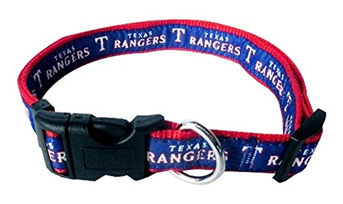 Pets First Texas Rangers Nylon Collar and Matching Leash for Pets MLB Official Size Small