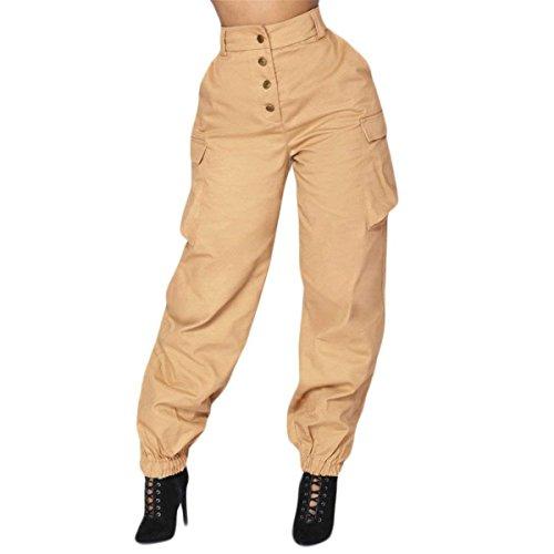 Fte Poches Haute Temps Cargo Pantalon Kaki Taille Sarouel Fille Avec wrrI5q