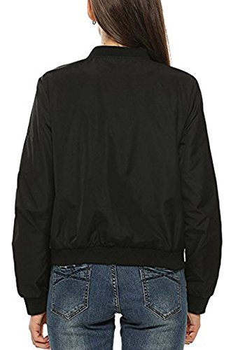 Zipper Mujer Moda Casual Quilted Chaqueta Negro Classic Jacket Corto BLACKMYTH Bomber a7xwqxR