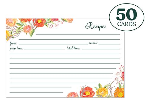 Jot & Mark Recipe Cards | Autumn Floral Print Double Sided 4x6 Inch Set of 50