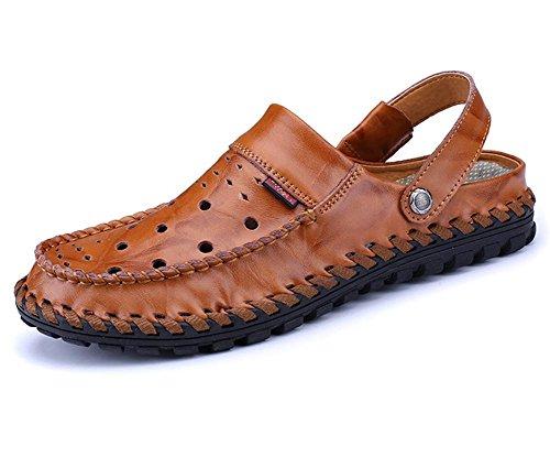 Las sandalias de los nuevos hombres de la personalidad de la manera del verano calzan las sandalias de cuero respirable de los hombres inferiores suaves de la playa de Baotou de los zapatos de la play Brown