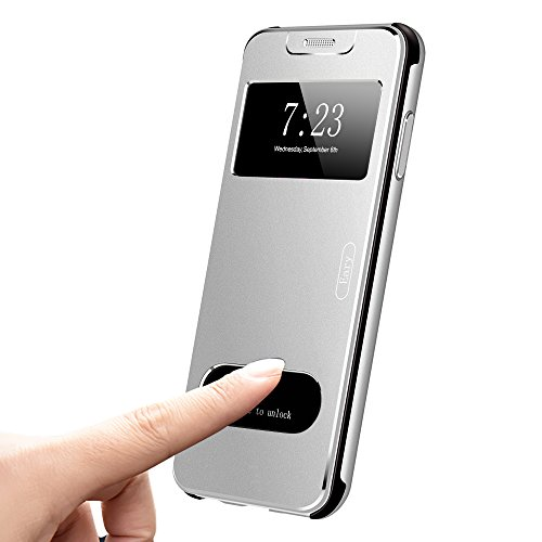 OATSBASF for iPhone X Flip Case Cover,Ultra Thin Metal Flip Case with S-View Window/Flip Cover/PC Bumper/Three-Layer 360 Protection [Support Wireless Charging] for iPhone X (Sliver) by OATSBASF