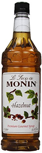 Monin Flavored Syrup, Hazelnut, 33.8-Ounce Plastic Bottles (Pack of 4)