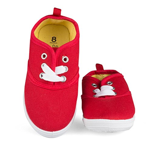[SBK202-RED-T9] Girls Canvas Sneakers: Lace-Up Tennis Shoes Toddler Size (Lace Up Lined Sneakers)