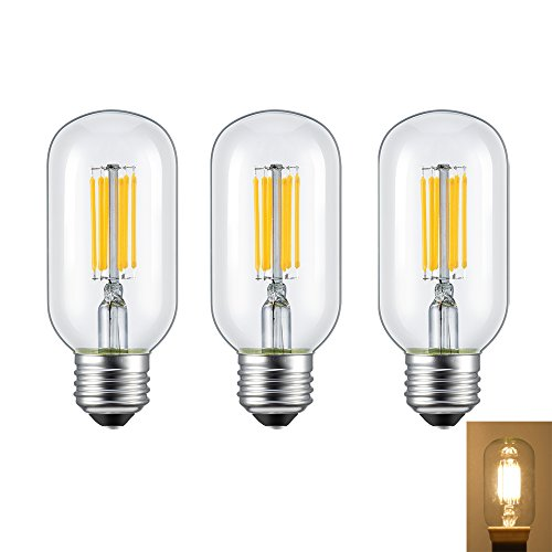 Rayhoo 6W Dimmable Edison Style Antique LED Filament Tubular Light Bulb, E26 Medium Base Lamp, T14(T45) Tubular Shape, 60W Incandescent Replacement, 2700K Warm White 600LM, 3-Pack