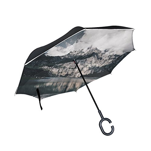 RH Studio Inverted Umbrella Lake Mountains Water Large Double Layer Outdoor Rain Sun Car Reversible Umbrella by RH Studio