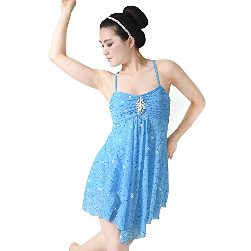 Dance Costumes Ballet/lyrical (MiDee Dance Costume Lyrical Dress Full Sequins Camisole Dance Dresses (MA, Blue))