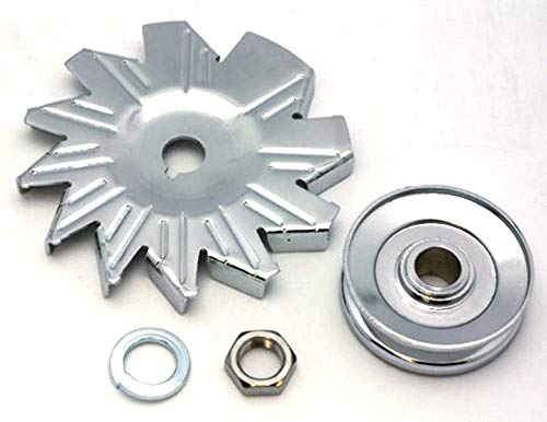 - CHROME ALTERNATOR SINGLE GROOVE PULLEY W/FAN GM/CHEVY