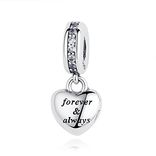 Eternalll Letter Love Bead Heart Charm with Crystal Charm 925 Sterling Silver Dangle Family Wife Husband Charm Anniversary Charm fit Pandora Charms (Forever Always) ()