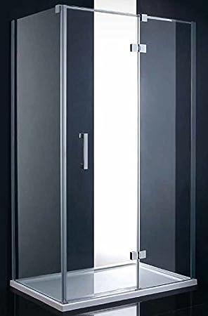 Mampara de ducha, 140x200 cm, espesor 8 mm, panel fijo+puerta abatible, tratamiento NANO: Amazon.es: Hogar