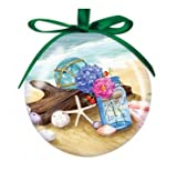 Seaside Gathering Beach Scene Designed Hanging Ball Christmas Ornament