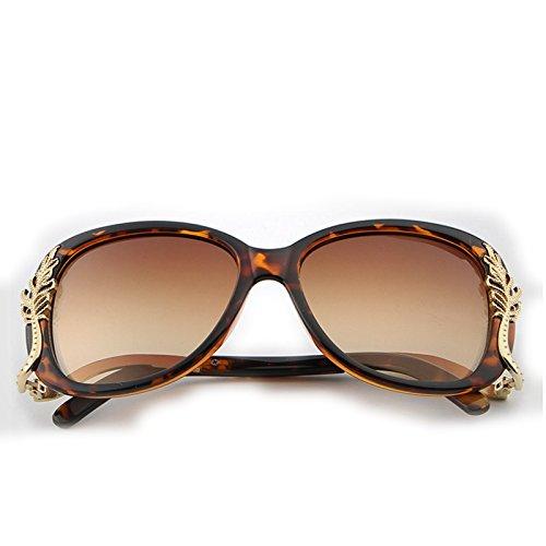 Femme Yiyepoetry Mode Soleil Blue Trend Lunettes Metal Soleil Lunettes Box de Tortoise Color Sunglasses de rqxr0Cw