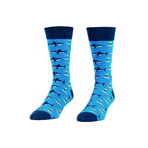 Sharks and Surfers Novelty Socks - Quirky, Funny Men's Crew Socks by Headline -