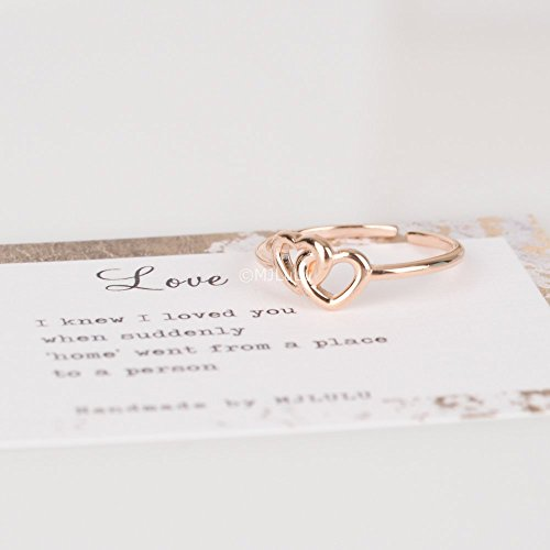 Dainty Rose Gold Double Heart Knot Ring - Sterling Silver Double Knot Ring