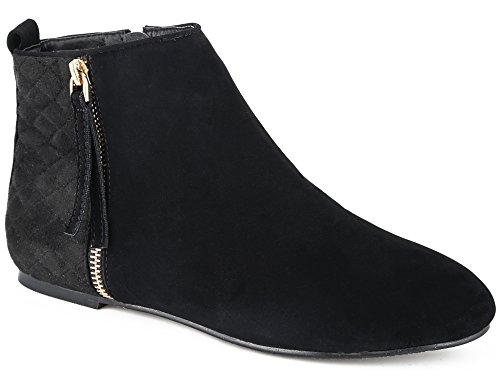 MaxMuxun Womens Shoes Riding Biker Zip Flat Ankle Booties Black Faux Suede Boots Size 8 US