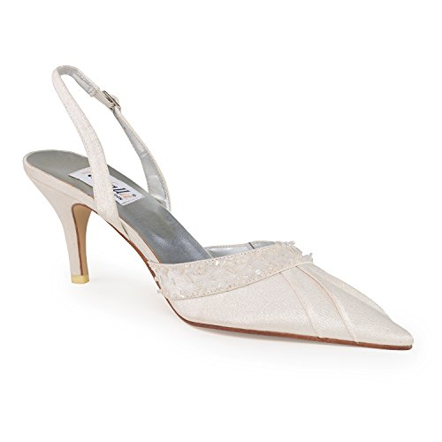 FARFALLA Satin Pleated Beaded Shoes Color-Ivory Size-UK 7/40 3lznw