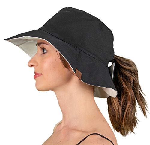 SH-22-0660 Reversible Sun Bucket Hat - Black/Light Beige