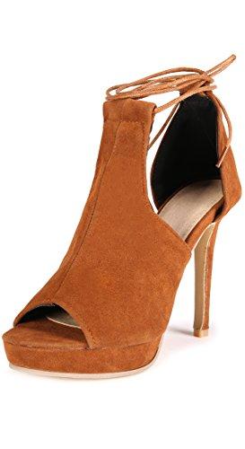 SNIDEL Womens Suede High Heel Platform Sandals Pumps Peep Toe Lace up Stilettos Dress (Suede Platform Pumps)