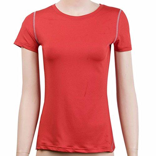 les femmes mode casual formation de courte remise en forme de manchon t-shirt de couche superieure de base de la sueur