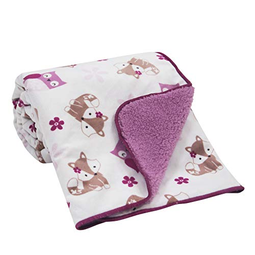 Bedtime Originals Lavender Woods Velour Sherpa Blanket - Purple, White, Animals ()