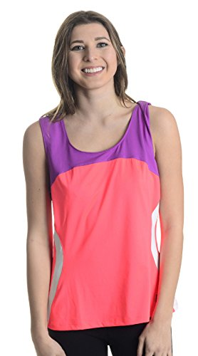 Fila Center Court Full Cover Tank, Fiery Coral/Purple Cactus Flower/White, Large ()