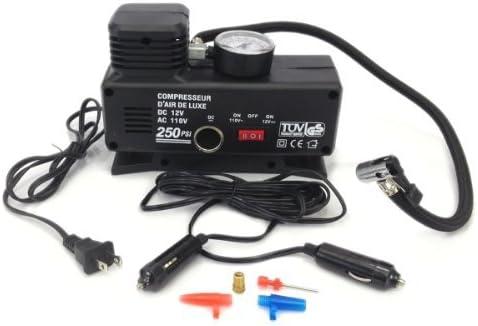 Amazon.com: PrimeTrendz TM AC/DC Heavy Duty 250 Psi -12 Volt + 110 Volt Portable Air Compressor Tire Inflator for Home (110V) / Outdoors Car (DC 12V) and ...