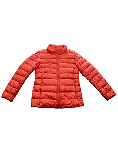 Light Stand Collar Orange Weight Water Down Coat Short Packable Breathable Jacket Zhhlinyuan Resistant Ultra with Women's Down BxqTZa6nwX