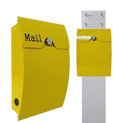郵便ポストスタンド付 壁掛けダイヤル錠付プレミアムステンレス黄色ポストpm272s-pm163 B076J7Y2R7 22880