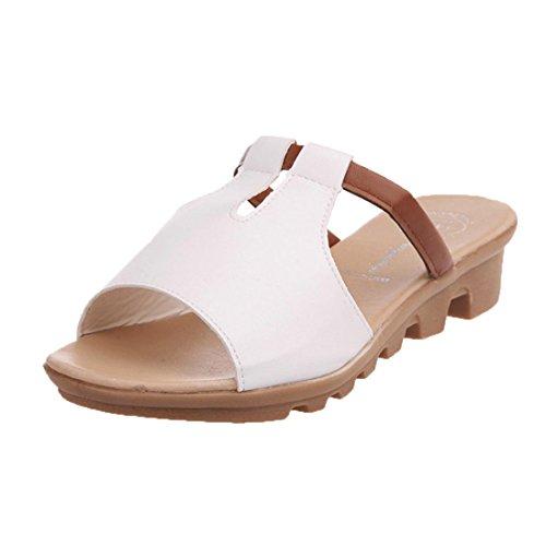 Chaussons Transer de ® en cuir femmes d'été sandales Blanc confort q5Sp5w