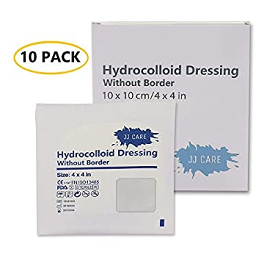 [Pack of 10] 4x4 inches Thin Hydrocolloid Dressing Without Border - Hydrocolloidal Bandage - Bed Sore Wound Care Pads with CGF for Advanced Healing