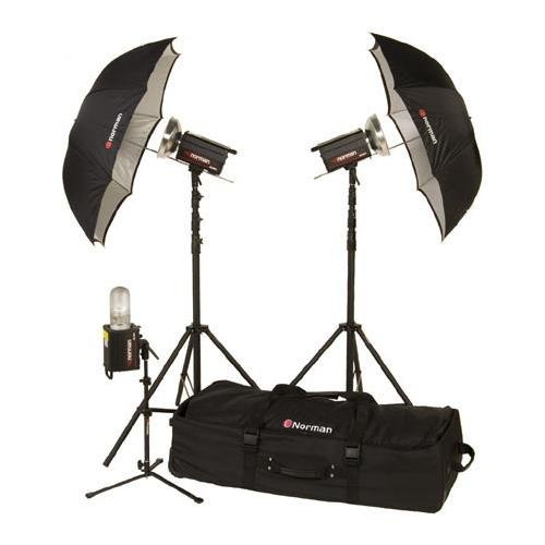 (Norman ML-KIT1600R 3 Light Travel/ Studio Kit with 2 ML600R and 1 ML400R Monolights, Umbrellas, 13' & Background Light Stands, Background Light Reflector & Case)