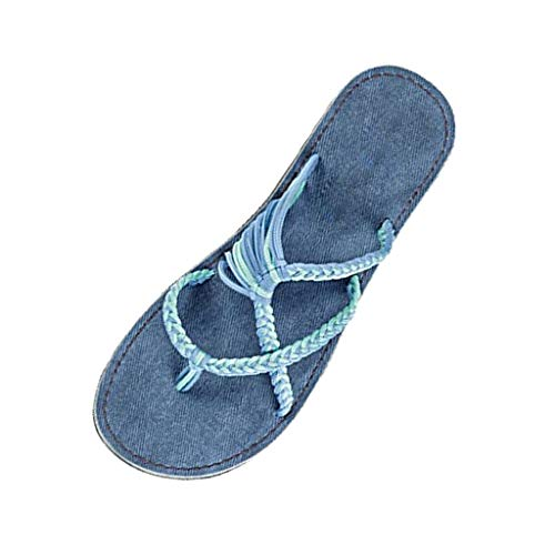 (Aunimeifly Vintage Woman's Hemp Rope Woven Flat Sandals Ladies Stylish Rome Beach Shoes Slippers )