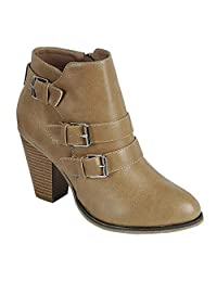 Titan Mall Forever Women's Buckle Strap Block Heel Ankle Booties