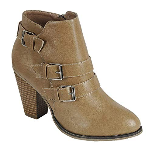 Ankle Block Heel Forever Buckle Booties Taupe Women's Strap t1qtXAwSx