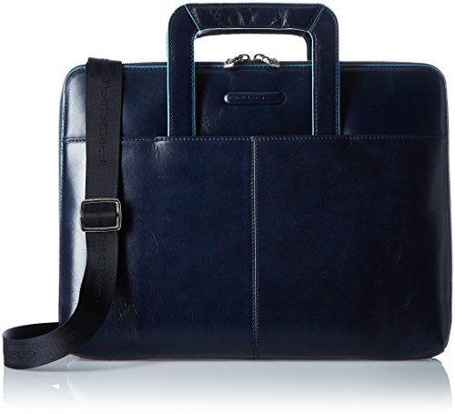 Piquadro Leather Notepad Holder A4 Format Stowaway Handles Shoulder Strap, Dark Blue, One Size by Piquadro