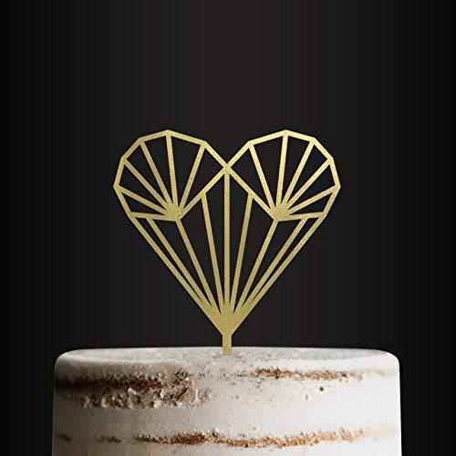 Wedding Cake Topper Art Deco Heart Cake Topper Cake Decoration Wedding Cake Engagement Cake Anniversary Cake cake toppers