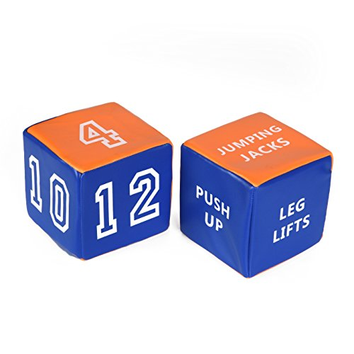 Special Supplies Fitness Dice Soft Plush (2-Pack) Rolling Exercise Cubes | Get Fit, Have Fun, Improve Strength & Cardio | Home, Gym Class, Indoor & Outdoor Use | Kids, Adults by Special Supplies