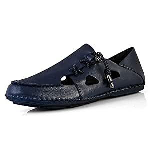 Shoes Comfortable Men Casual Sandal Shoes Lace up Cutout Lightweight Thin Round Toe Microfiber Leather Flat Anti-Skid Walking Stitching Solid Fashion (Color : Blue, Size : 8 UK)