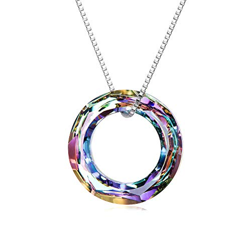AOBOCO Blue Circle Crystal Necklace 925 Sterling Silver Chain, Multi Color Round Simple Pendants with Swarovski Crystals Fine Jewelry Gift for Women Girls Teens (Dia 0.78'' Circle Purple) ()
