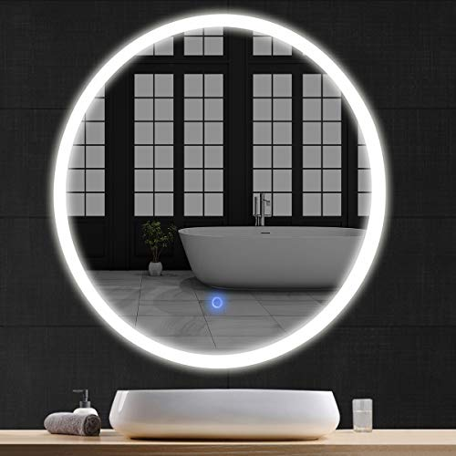 "Tangkula 24"" LED Mirror Round Wall Mount Lighted Mirror Bathroom Bedroom Home Furniture Illuminated Vanity Make Up Lamp Wall Mounted Mirror with Touch Button (24"")"