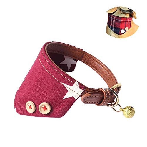 at Bandana Adjustable Puppy Buckle Collar Leather Cute Red Bandana Dog Collar with Bell (F) ()