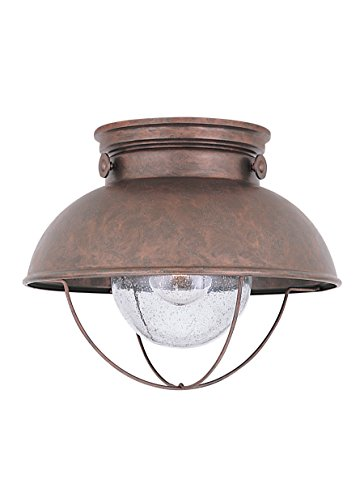 Sea Gull Lighting 8869-44 Sebring One-Light Outdoor Flush Mount Ceiling Light with Clear Seeded Glass Diffuser, Weathered Copper Finish (Flush Mount Outdoor Lights)