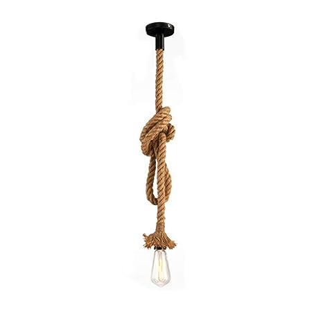 STARRYOL Cuerda de cáñamo E27 Lámpara colgante colgante vintage, Luz de techo estilo retro industrial del país perfecta para el restaurante del ...