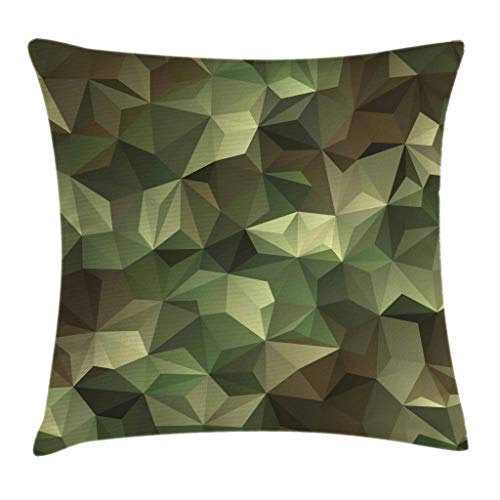 Ambesonne Sage Throw Pillow Cushion Cover, Geometric Fractal Shapes Triangles Camouflage Inspired Form with Poly Effect, Decorative Square Accent Pillow Case, 18 X 18 Inches, Brown and Green