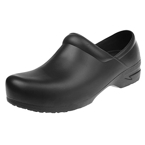 Baoblaze Unisex Anti-Slip Chef Clog Oil Water Resistant Work Shoes Flat Shoes Kitchen Non Slip Work Shoes White/Black - Black, 40 from Baoblaze